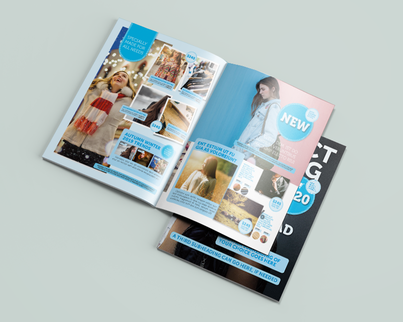 A mockup of an 8.5x11 free sample design catalog