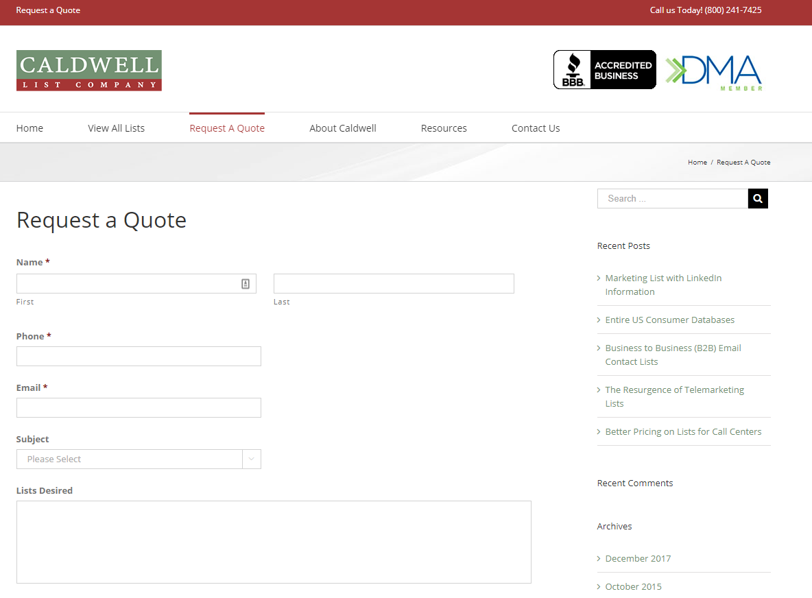 Caldwell List Company request a quote page is where you place orders for your mailing lists to be configured by their talented mail list managers and staff