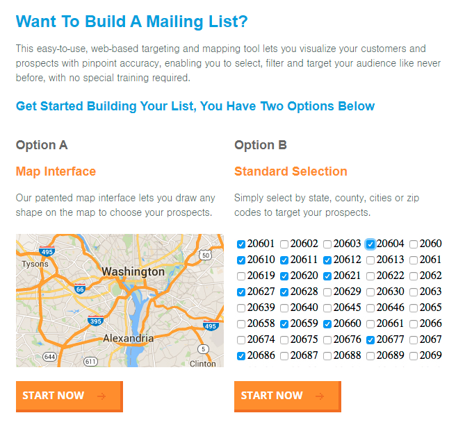 DirectMail.com's interface for starting your direct mail list configuration session.