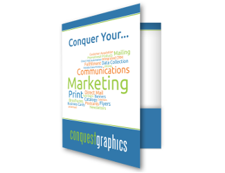 Pocket folder printing for marketing collateral possible through Conquest Graphics